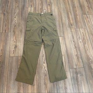 LL Bean 16 Boys Convertible Pants Green